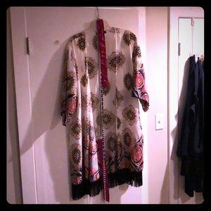 Paisley print, tasseled robe belts included